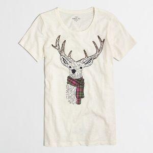 J. CREW Reindeer Scarf Holiday Collector Tee Shirt
